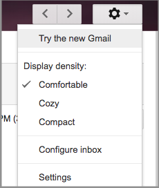 Option in Gmail settings to try the new Gmail