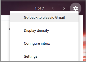 Option in Gmail settings to go back to classic Gmail